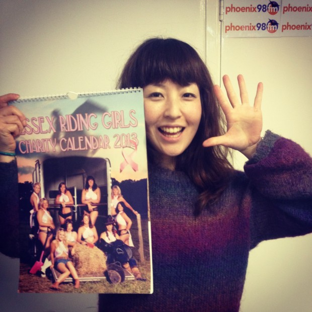 Haruna holds the Essex Riding Girl Calender!