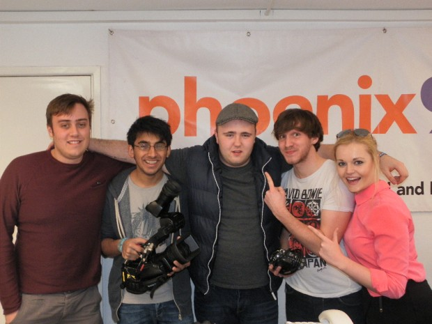 GK (middle) and the Film crew from Bournemouth University