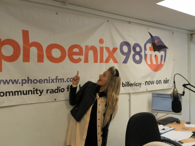 Luciee in Phoenix FM`s Studio 1 (still wearing her BBC The Voice afterparty wristband..lol)