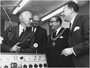 a picture of the PMG, Edward Short and other dignitaries at the opening of the first BBC local radio station - BBC RADIO LEICESTER in November 1967