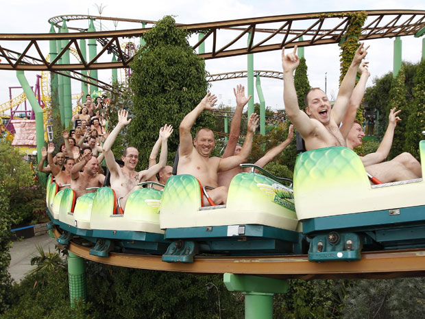 World record naked roller coaster ride