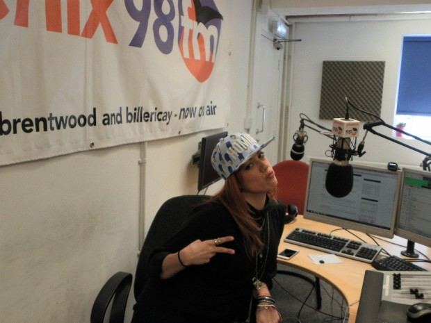 Cleo in the hot chair at phoenix fm studio 1