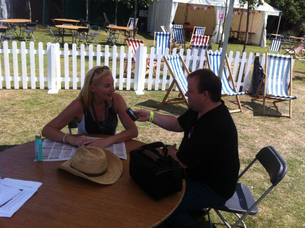 2015-07-11 52 Southend Village Green - Paul interviewing Colette Bailey (Chris Siviter)