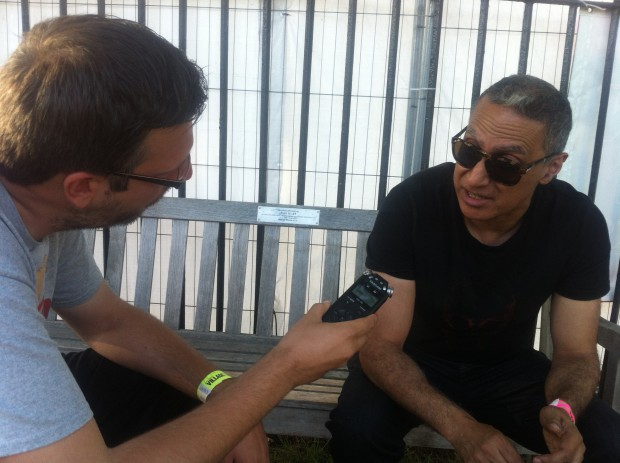 2015-07-11 55 Southend Village Green - Chris interviewing Nitin Sawhney (Chris Siviter)