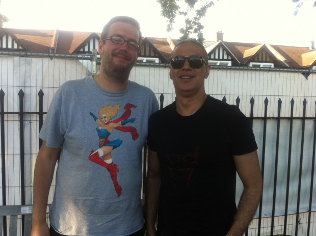2015-07-11 56 Southend Village Green - Chris with Nitin Sawhney (Chris Siviter)