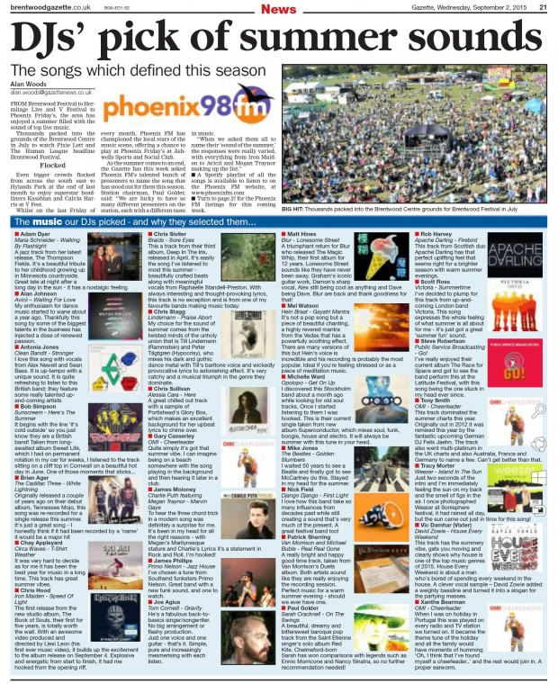 2015-09-02 Brentwood Gazette (songs of the summer)