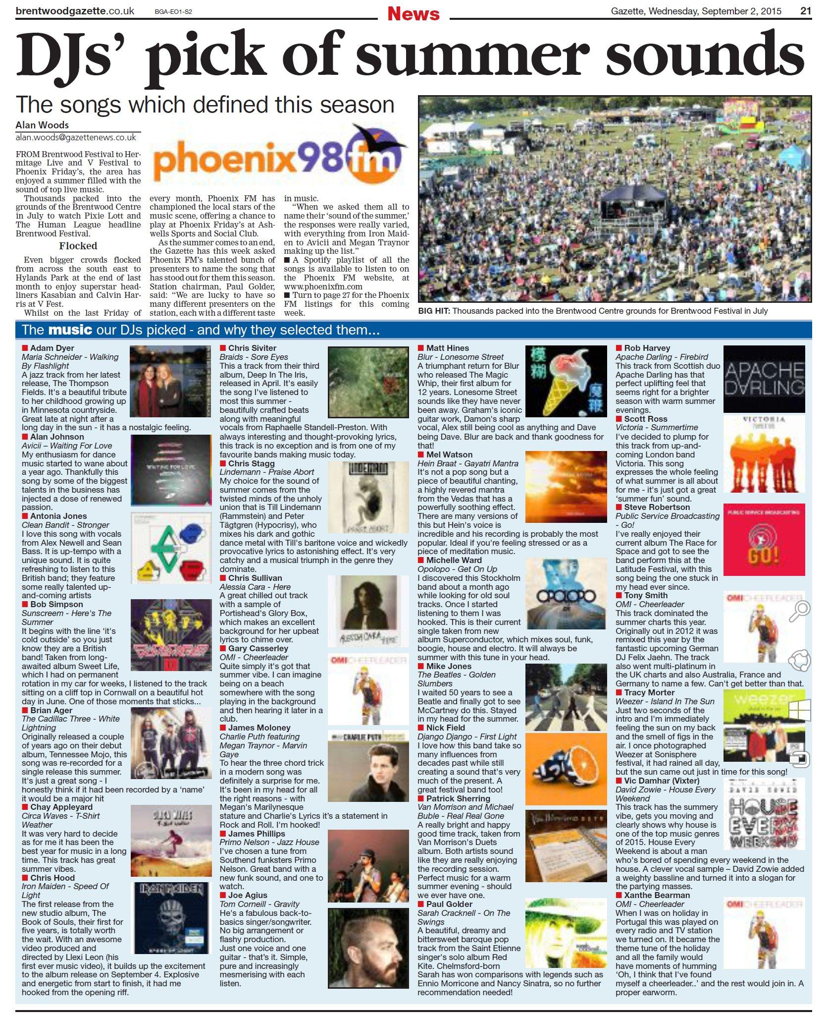 Songs of the Summer – 2015 - Phoenix FM