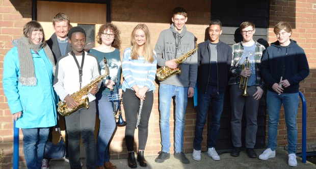 Ann Elderton and Sam Edwards with the Jazz Band