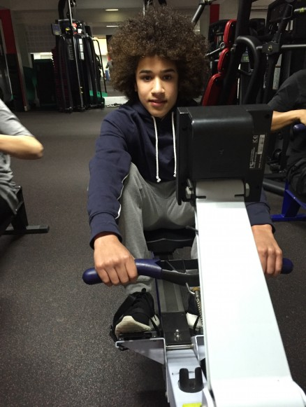 Louis tries his luck on the rowing machine