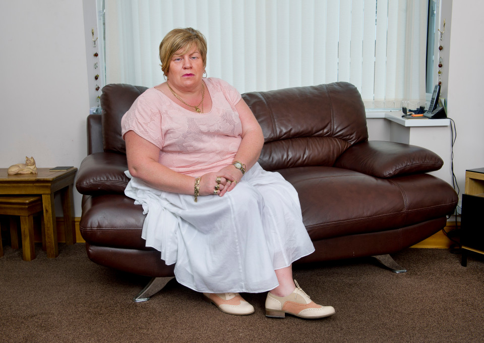 "Anita White of Sandiacre, Notts, was refused a refund on a faulty Harveys sofa which started to sag on one side because the shop said she and her husband are of ""large build"". For copy by Andrew Parker."
