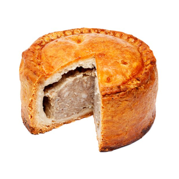 credit: Alamy. CP84HH Pork pie with slice cut out