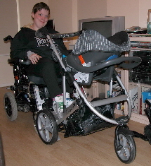 Pushchair linked to wheelchair