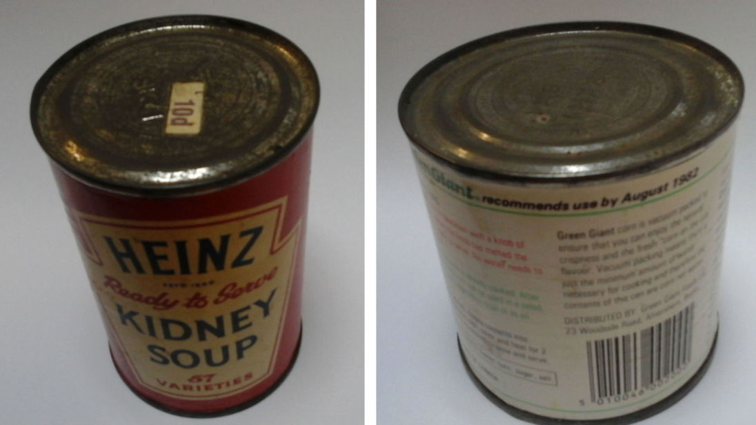 Cardiff Foodbank undated handout photo of out of date tins of food, including a tin of Heinz kidney soup dating back at least 46 years, that has been handed into the charity. PRESS ASSOCIATION Photo. Issue date: Thursday October 5, 2017. See PA story SOCIAL Soup. Photo credit should read: Cardiff Foodbank/PA Wire NOTE TO EDITORS: This handout photo may only be used in for editorial reporting purposes for the contemporaneous illustration of events, things or the people in the image or facts mentioned in the caption. Reuse of the picture may require further permission from the copyright holder.