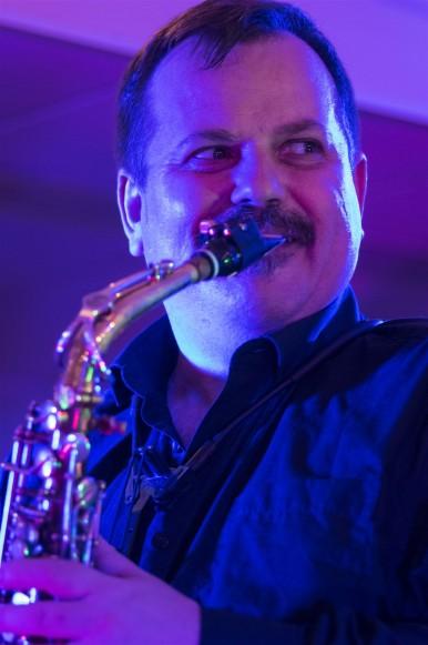 Saxophonist Sideways Glance