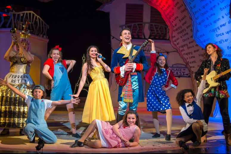 L-R Oliver Beamish, Daniella Piper, James Lawrence, Molly-Grace Cutler & Young Company Beauty and the Beast Queen's Theatre Hornchurch Photo Credit Mark Sepple