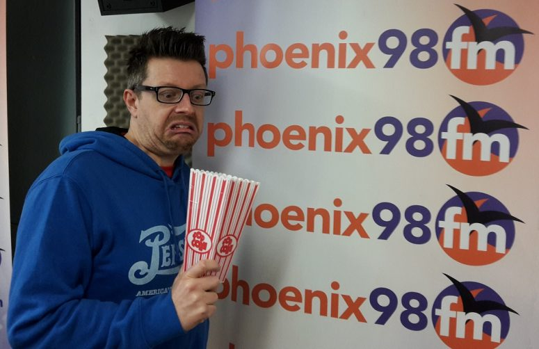 Mark Searby and the empty popcorn box!